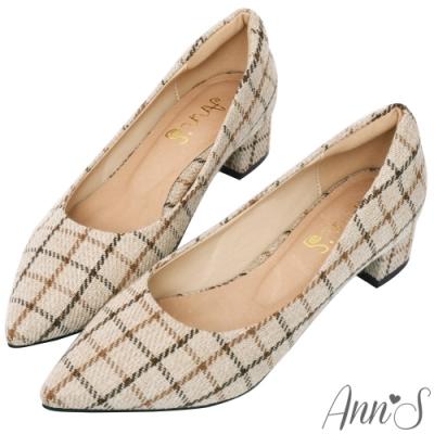 Ann'S加上優雅低跟版-毛呢格紋沙發後跟低跟尖頭鞋-杏