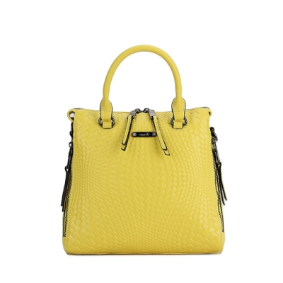 Omdi 簡約細膩編織手提包(黃色)