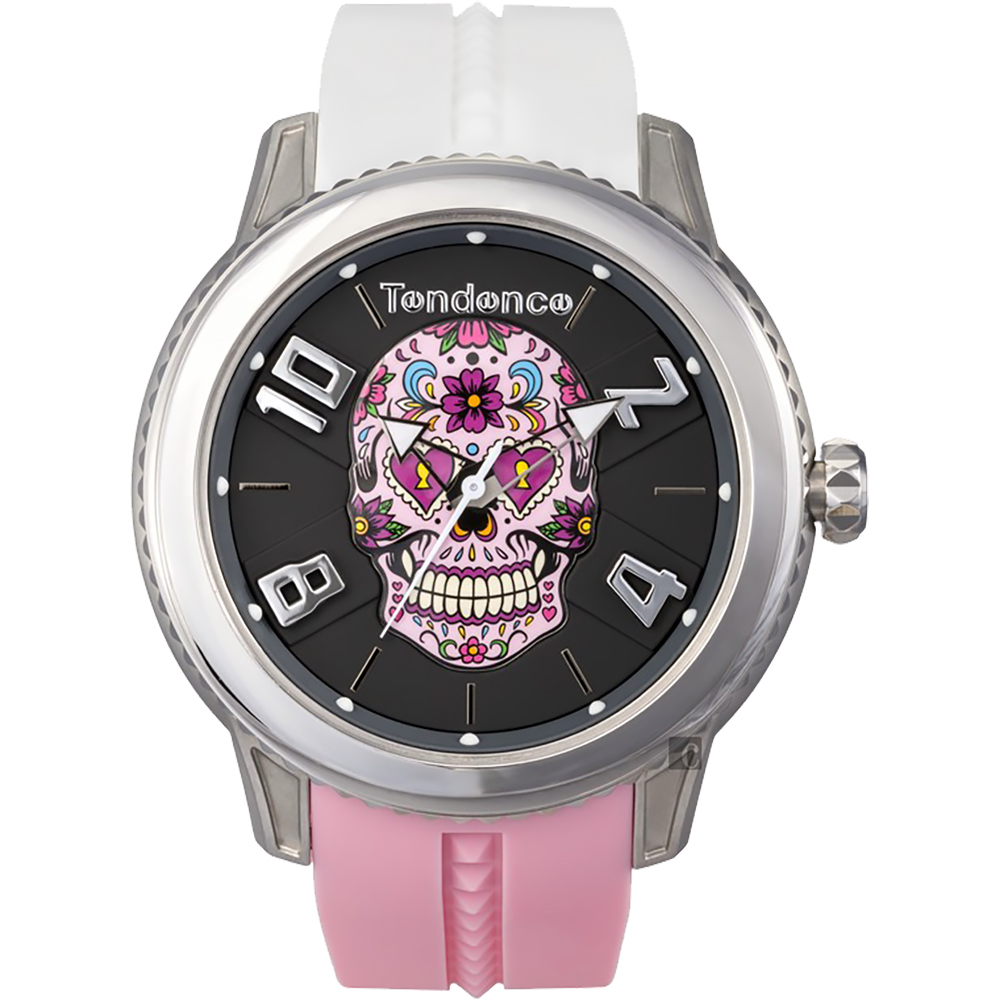 Tendence 天勢 花漾骷髏手錶-粉紅x白/45mm(TY013501)
