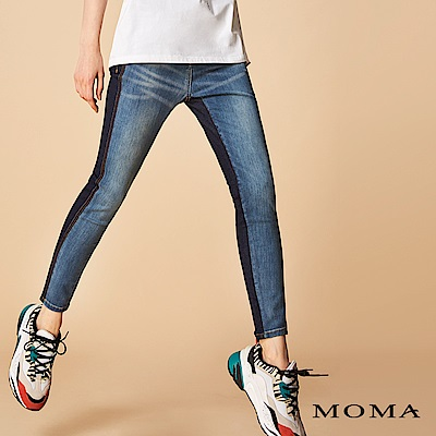 MOMA 雙色拼接水洗牛仔褲