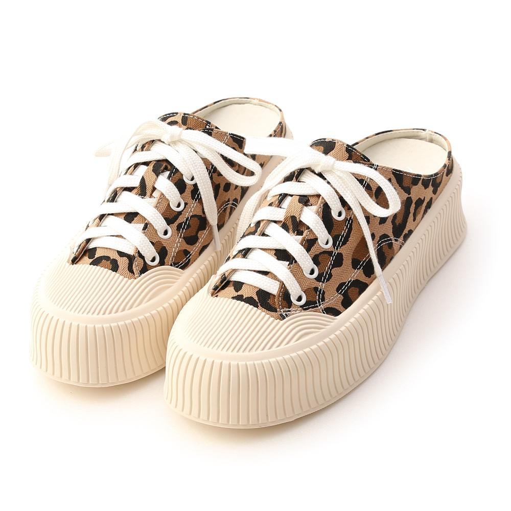 D+AF 樂活主題.休閒帆布厚底穆勒鞋*豹紋