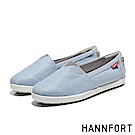 HANNFORT CALIFORNIA銀光緹花布氣墊休閒鞋-女-粉彩藍