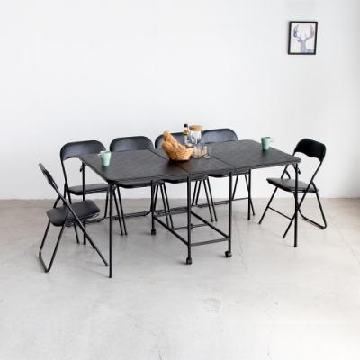 Amos-可延伸摺疊收納1+6軟墊餐桌椅組