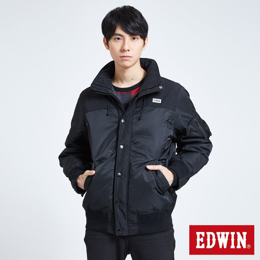 EDWIN 潮流機能 軍裝羽絨外套-男-黑色