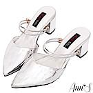Ann'S時尚關係-雙穿法粗跟尖頭鞋-銀