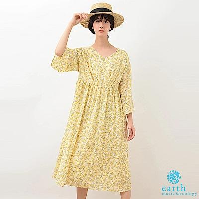 earth music 滿版復古小花圖案連身洋裝