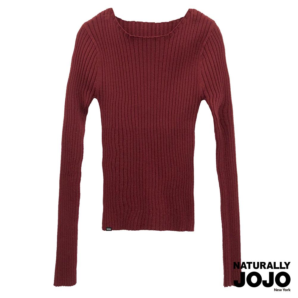 【NATURALLY JOJO】百搭彈性羅紋線衫(紅)