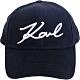 KARL LAGERFELD K/Signature 簽名刺繡天鵝絨棒球帽(夜藍色) product thumbnail 1
