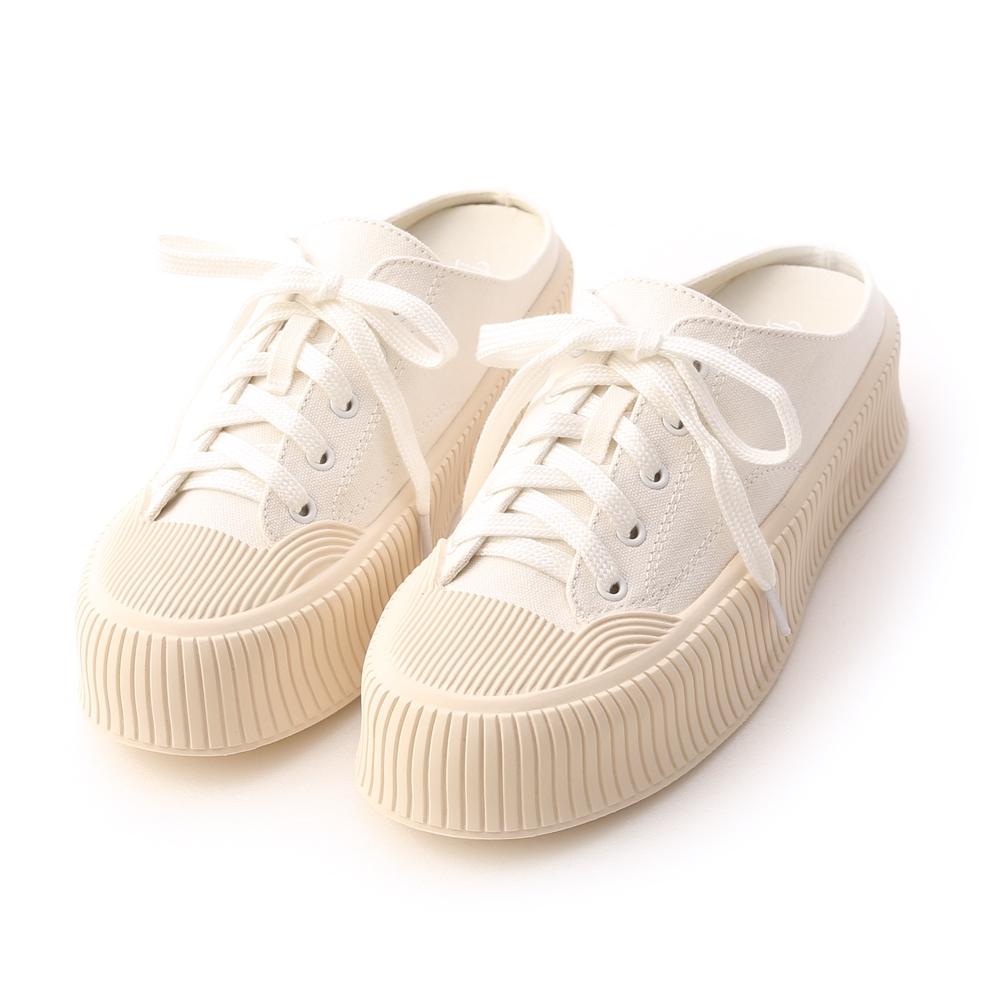 D+AF 樂活主題.休閒帆布厚底穆勒鞋*白