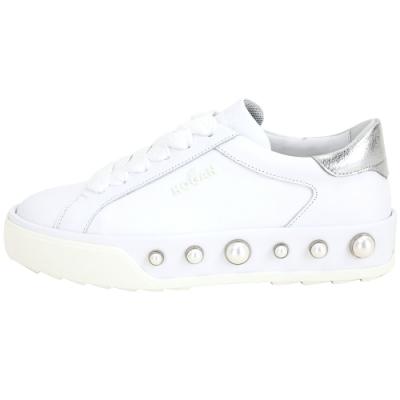 HOGAN H320 珍珠系列繫帶都市滑板鞋(白色)