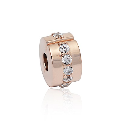 Pandora 潘朵拉 閃耀玫瑰金鑲鋯 夾扣式純銀墜飾 串珠