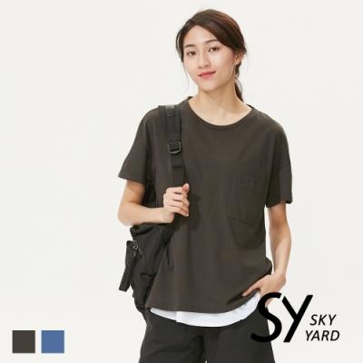 【SKY YARD 天空花園】潮流百搭寬鬆版胸前口袋造型上衣-深灰