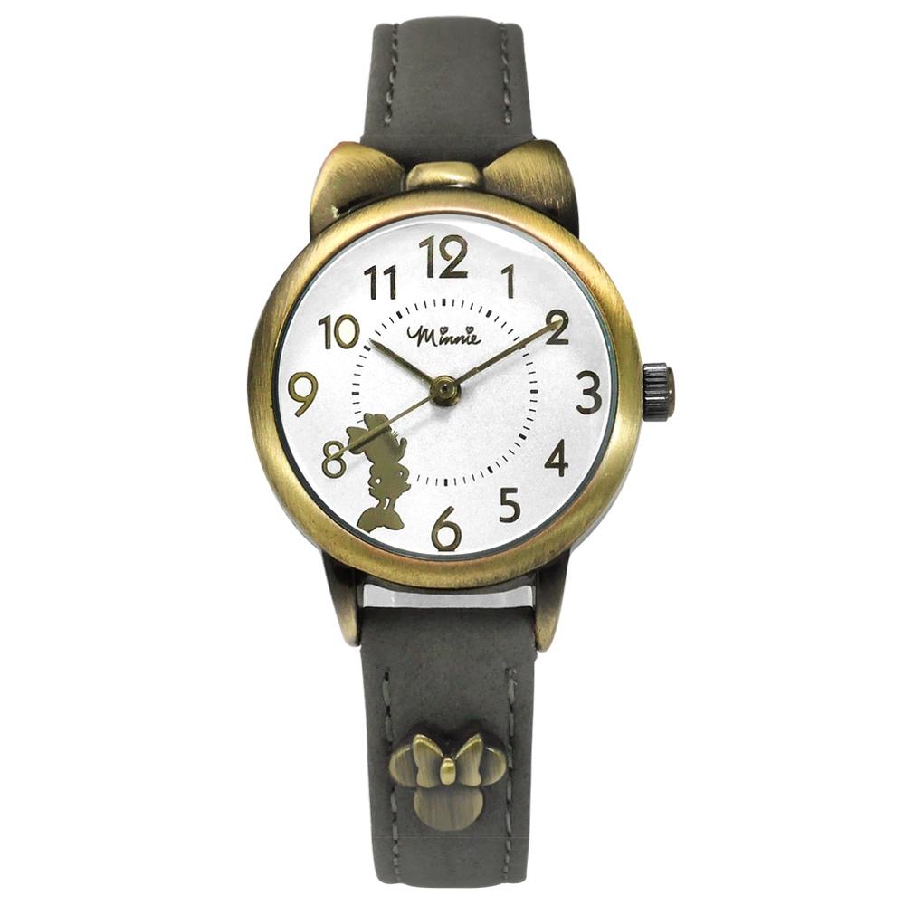 Disney 迪士尼 米妮剪影 蝴蝶結錶框 卡通 真皮手錶-銀x古銅金框x深灰/27mm
