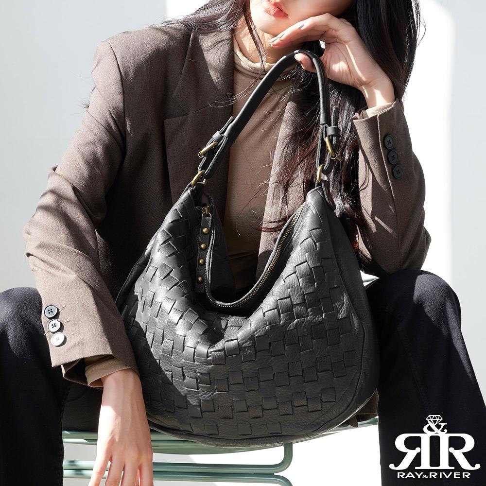 2R 頭層牛皮Oak歐可垂墬梭織斜肩背包 寧靜黑