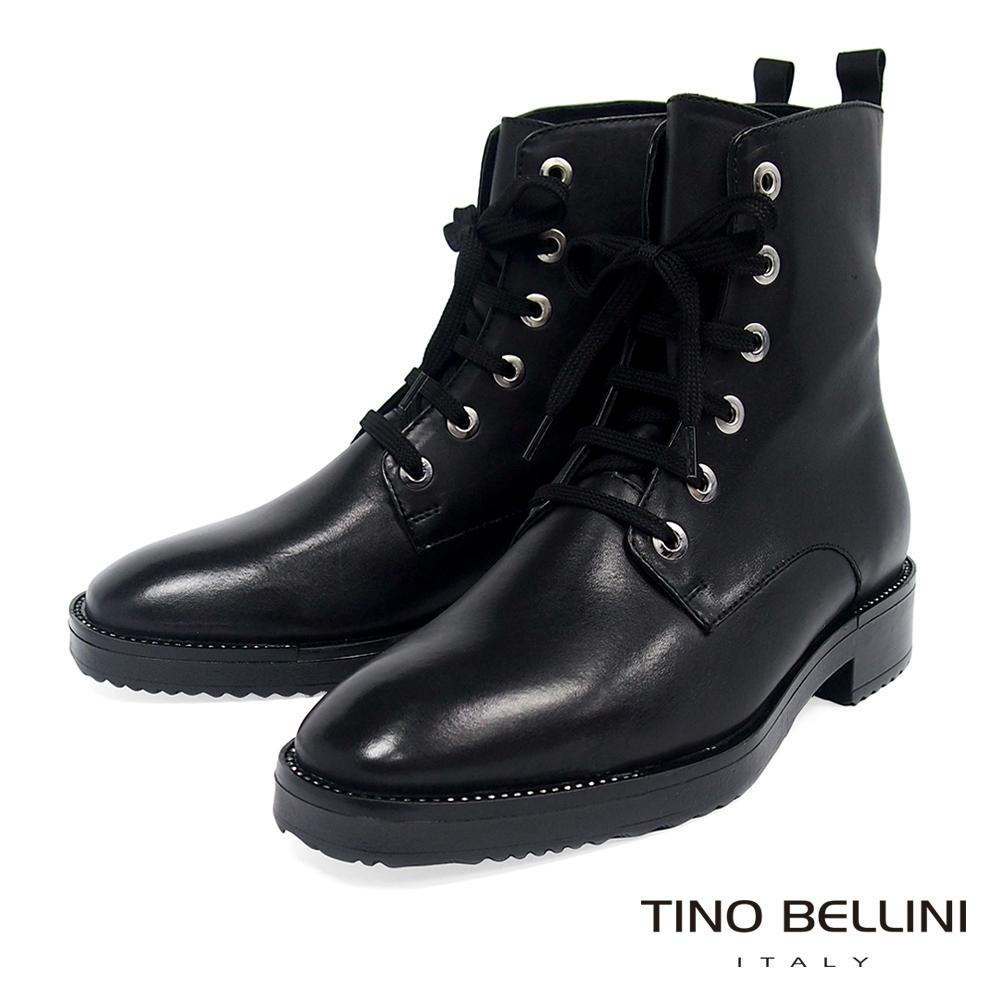 Tino Bellini 帥勁堅靭牛皮綁帶靴_黑