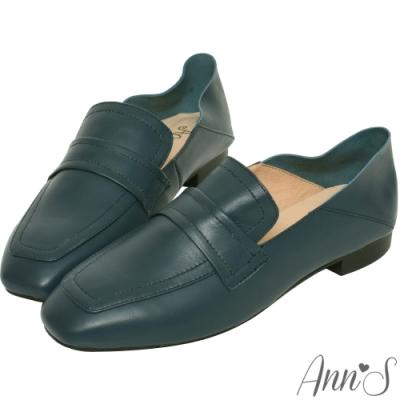 Ann'S會呼吸的舒適-小羊皮全真皮兩穿平底穆勒紳士鞋-深藍(版型偏大)