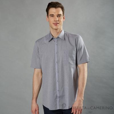 ROBERTA諾貝達 進口素材 台灣製 時尚設計 純棉短袖襯衫 灰色