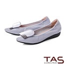 TAS 金屬一字造型尖頭娃娃鞋-低調灰