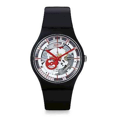 Swatch THINK FUN系列 SILIBLACK 透明黑鏡手錶