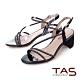 TAS水鑽繫帶繞踝飾釦粗跟涼鞋-女神黑 product thumbnail 1