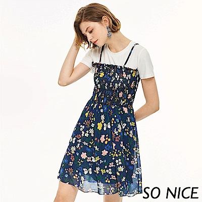 SO NICE夏日假兩件花卉洋裝