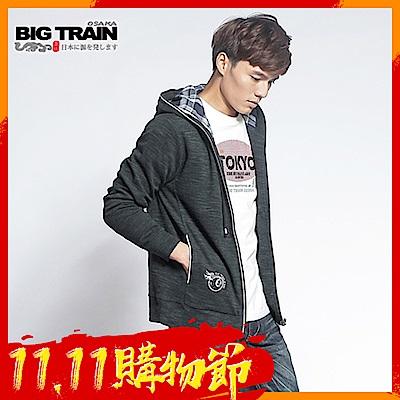 BIG-TRAIN-竹節羅紋出芽連帽外套-男-黑色