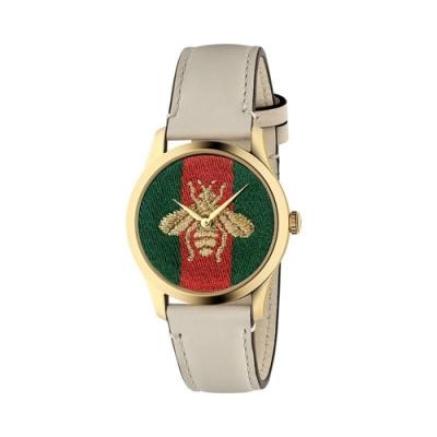 GUCCI G-TIMELESS經典蜜蜂時尚皮帶腕錶38mm(YA1264128)