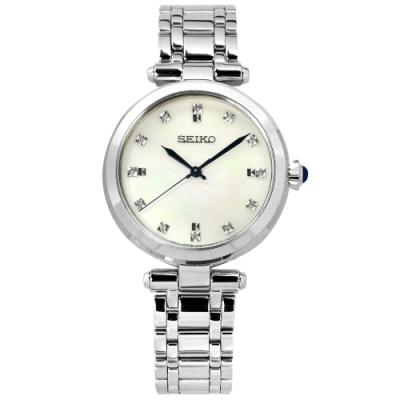 SEIKO 精工 珍珠母貝 藍寶石水晶玻璃 真鑽 不鏽鋼手錶-銀白色/30mm