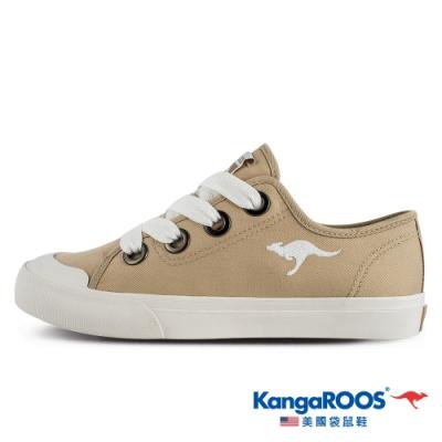 KangaROOS 美國袋鼠鞋 女 FANCY寬綁帶手工帆布鞋/餅乾鞋/休閒鞋(奶茶-KW11281)