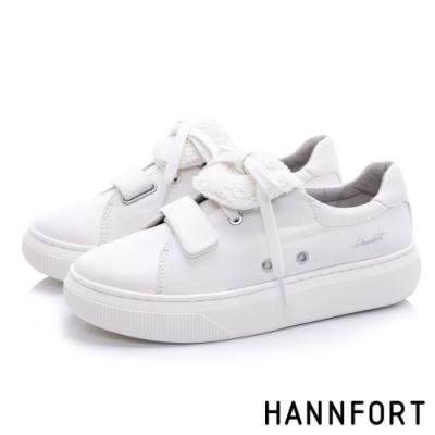 HANNFORT CAMPUS PLATFORM 毛毛流蘇片厚底休閒鞋-女-白