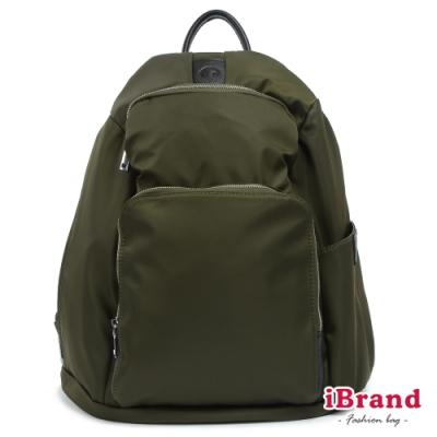 iBrand 率性時尚後開式防盜尼龍後背包(L)-墨綠色