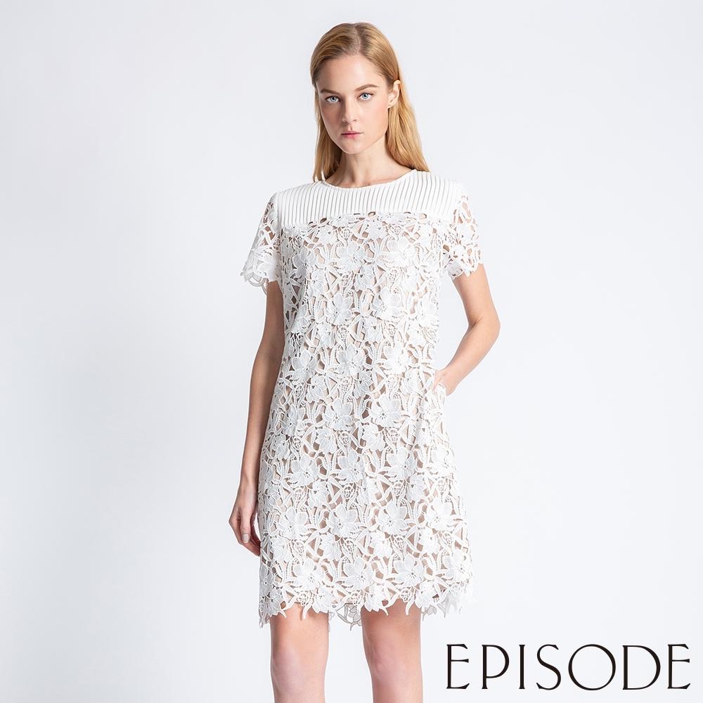 EPISODE - 清新直條造型立體鏤空雕花洋裝(白)