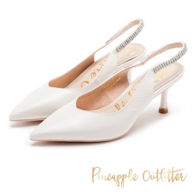 Pineapple Outfitter 淡雅法式 羊皮水鑽後繫帶尖頭高跟鞋-白色