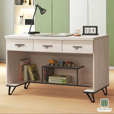 Hampton安娜利鋼刷白4尺三抽書桌-121x58x82cm