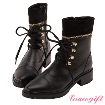 Grace gift X Wei-聯名拼接金屬綁帶中筒靴 黑