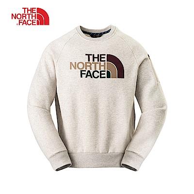 The North Face北面男女通用款野燕麥色羅紋長袖上衣 3L6U1TG