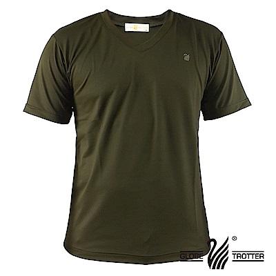 【遊遍天下】MIT中性款輕量V領吸濕排汗機能衫S106橄欖綠