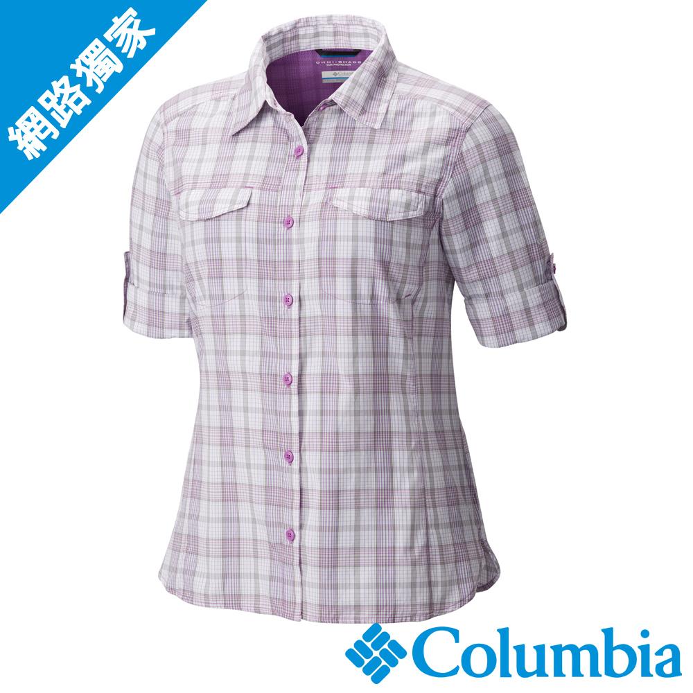 Columbia 哥倫比亞 女款-防曬40快排長袖襯衫-紫格紋UAK14980VP