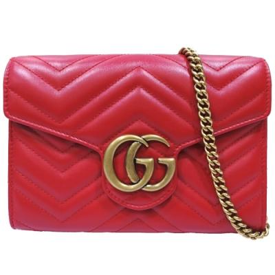 GUCCI  GG Marmont系列仿舊金色雙G LOGO 山字車紋牛皮釦式手拿/斜背包(紅色)