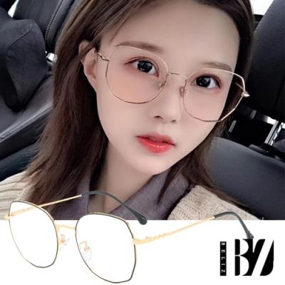 BeLiz 多角圓框 雙色細金屬平光眼鏡 黑金