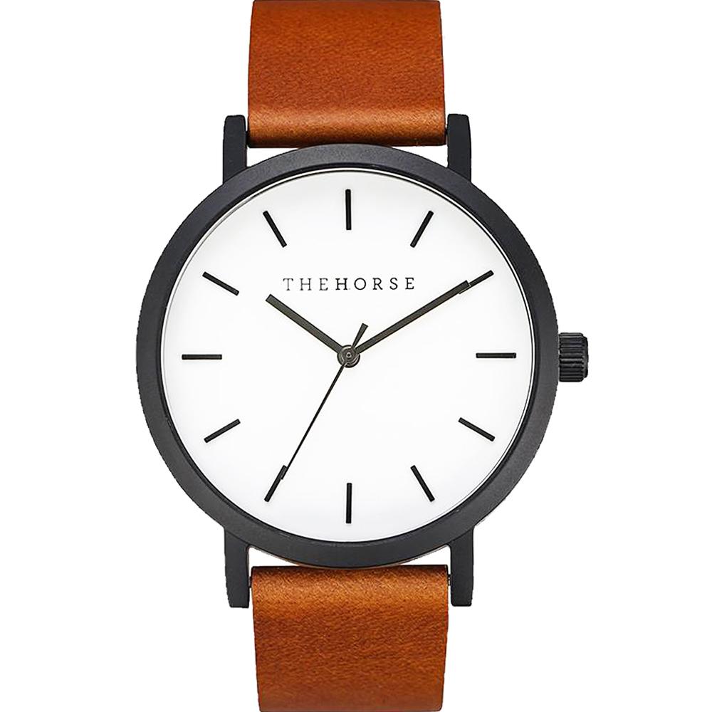 THE HORSE 極簡主義經典真皮革腕錶 –白色/42mm