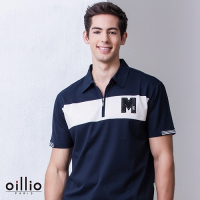 oillio歐洲貴族 短袖吸濕排汗 POLO衫 彈性透氣 自然棉料 丈青色