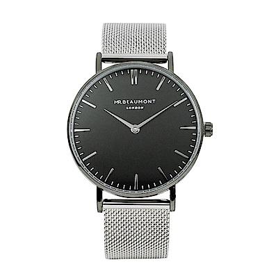 Elie Beaumont 英國時尚手錶 牛津米蘭錶帶系列 黑錶盤黑框x銀色錶帶41mm