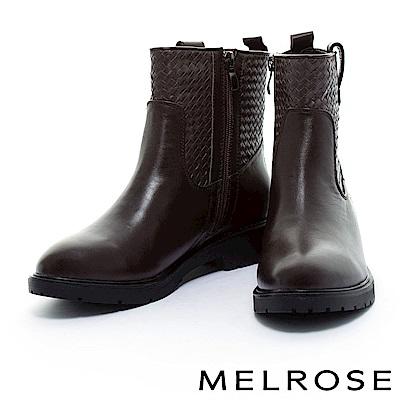 短靴 MELROSE 風格獨具純色編織拼接粗低跟短靴-咖