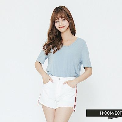 H:CONNECT 韓國品牌 女裝-小V領素面T-shirt-藍