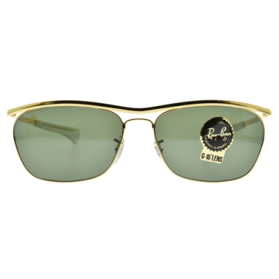 RayBan雷朋太陽眼鏡 OLYMPIAN II DELUXE 方框 /金-綠鏡片#RB3619 919631-60mm