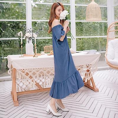 垂墜感荷葉裙襬拼接純色荷葉袖鬆緊v領/一字領中長洋裝-OB大尺碼