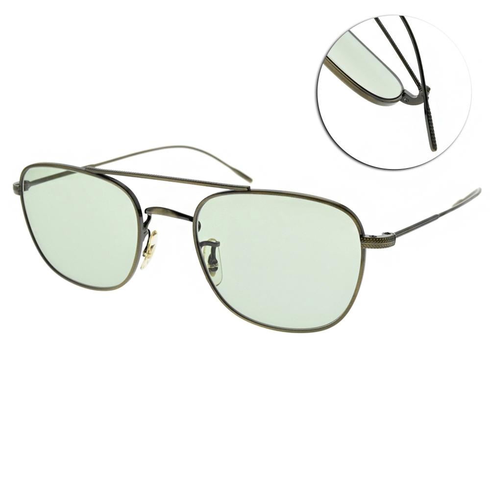 OLIVER PEOPLES 太陽眼鏡 Kress 雙槓復古方框款/銅-綠鏡片 #OV1238 5284