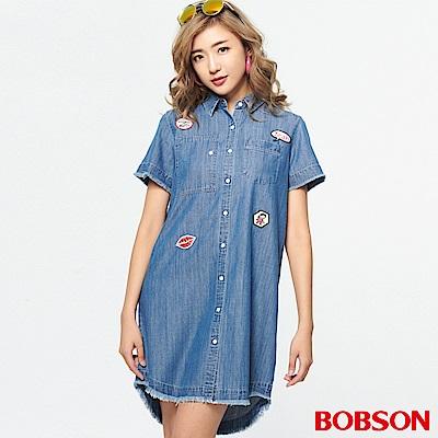BOBSON 女款貼布標天絲棉襯衫