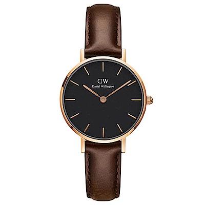 DW手錶 官方旗艦店 28mm玫瑰金框 Classic Petite 深棕真皮皮革手錶